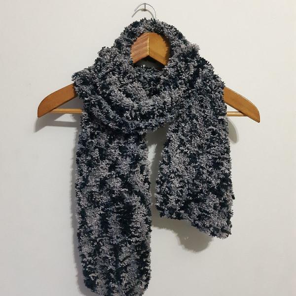 Cachecol mescla lã artesanal