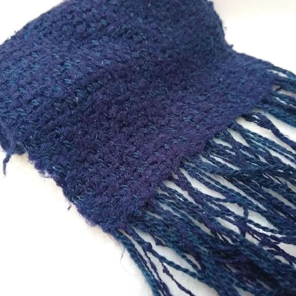 Cachecol tricô artesanal azul marinho