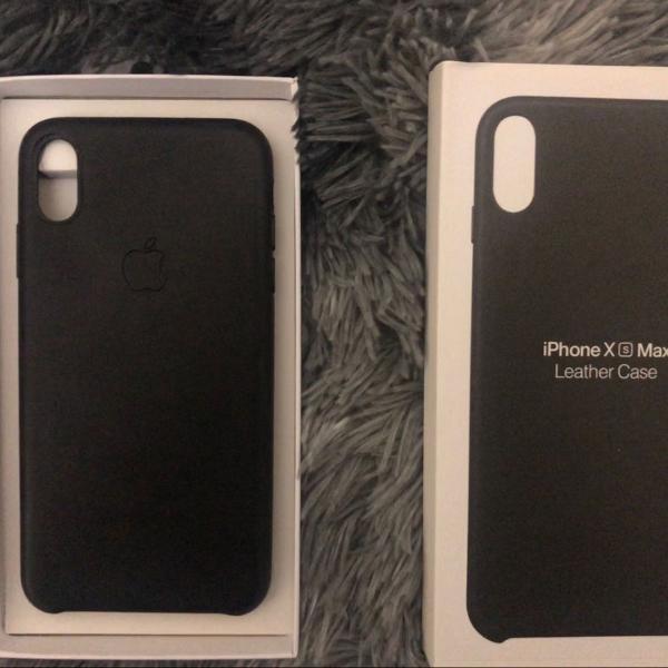 Capa case couro apple iphone xs max preta