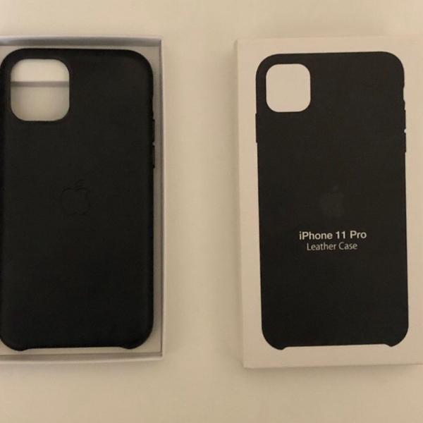 Capa case couro apple para iphone 11 pro preta