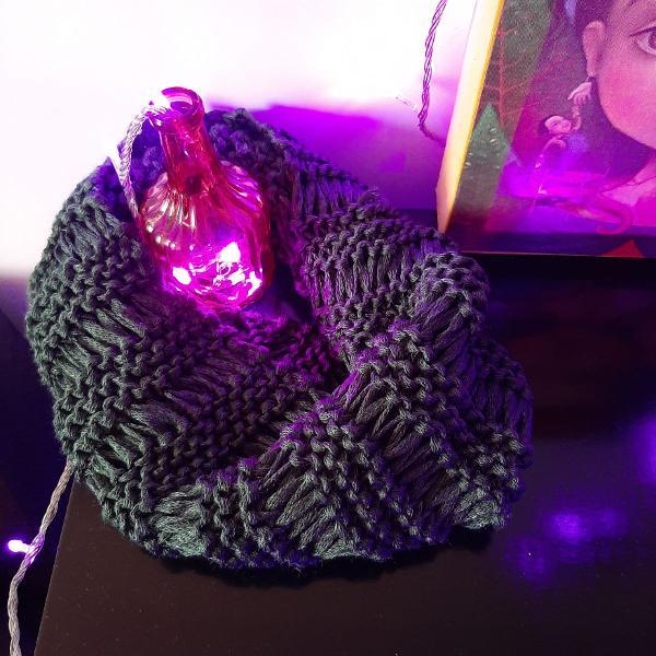 Gola de tricô de uma volta - verde escuro chique
