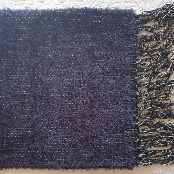 Manta lã - tear - azul marinho - artesanal