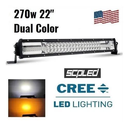 Barra led 22 pol 270w dual color com strobo lente 7d cree