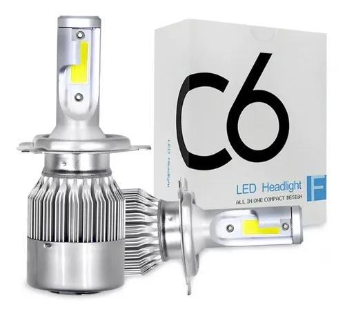 Kit lampada led c6 h4 automotiva 6000k super branca headligh
