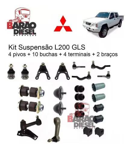Kit suspensão l200 4x4 1995/2005 pivo terminal com 24