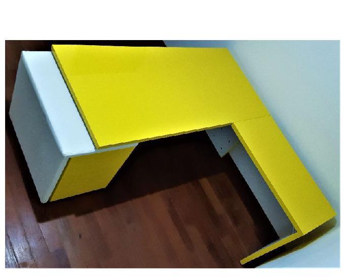 Móveis p escritório conjunto 4 pçs amarelobranco