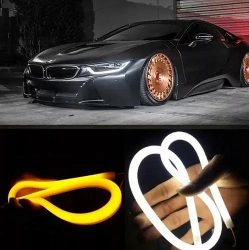 Par fita barra 45cm led flexível lanterna c/ seta carro