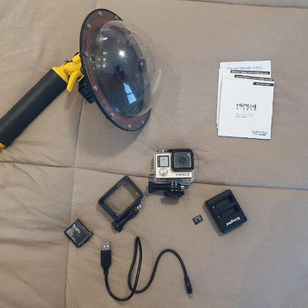 Gopro hero 4 silver + dome + sd + bateria extra + carregador