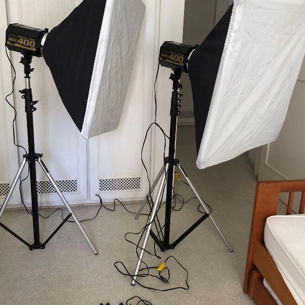 Kit flash iluminação de estúdio studio completo atek