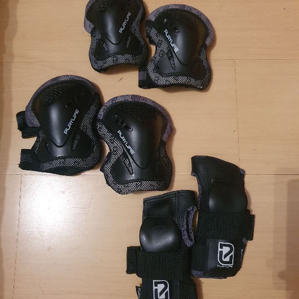 Kit proteção joelheira, cotoveleira e munhequeira