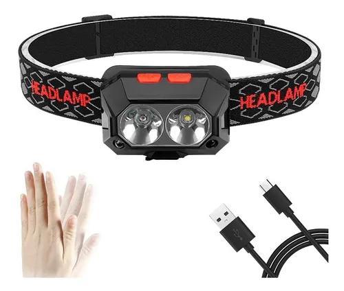 Lanterna de cabeça led recarregável sensor indutivo forte