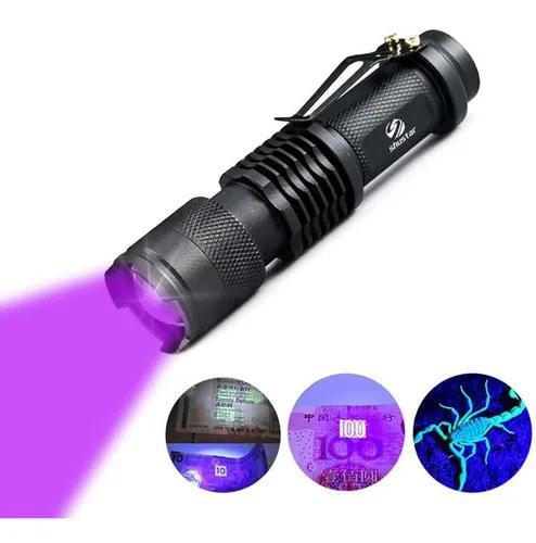 Lanterna tática uv ultra violeta luz negra led 395 nm