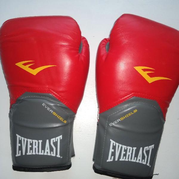 Luva boxe everlast pro style 12oz vermelha