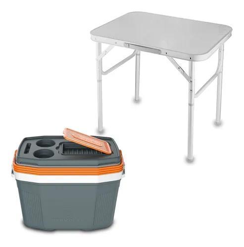 Mesa dobravel portatil vira maleta camping praia 60x45cm