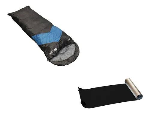 Saco de dormir viper + isolante térmico e.v.a preto/ azul