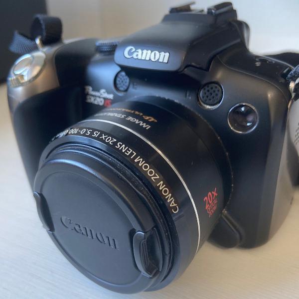 Canon máquina fotográfica com bolsa própria e cartão de