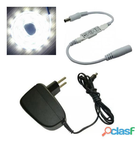 Fita led branca fina c/ mini controle 3 botões diminui a luz