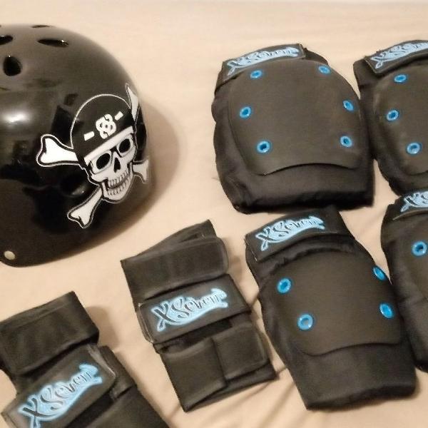 Kit proteçao skate + capacete
