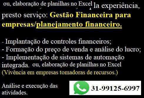 Profissional autônomo, presto serviço gestão financeira