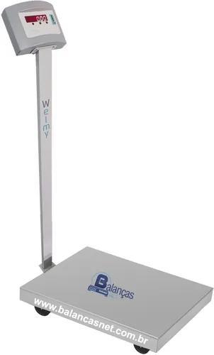 Balança eletrônica inox 300kg x 50g 50x60 coluna e bateria