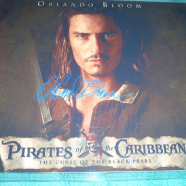 Foto orlando bloom autografada piratas do caribe para
