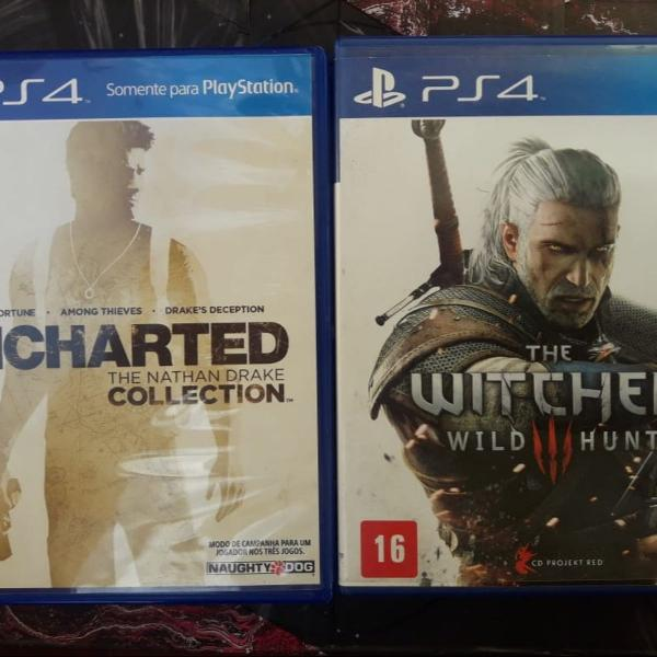Lindos jogos mídia física ps4 the witcher 3 + uncharted