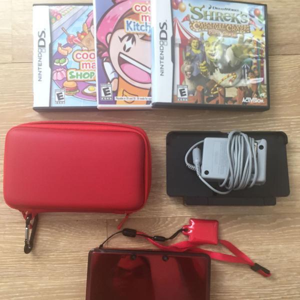 Nintendo 3ds + acessórios + 5 jogos