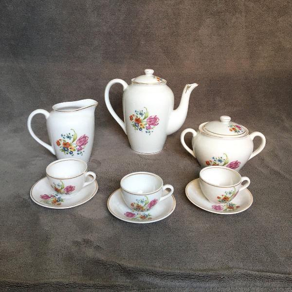 Jogo de chá floral porcelana monte alegre com filetes