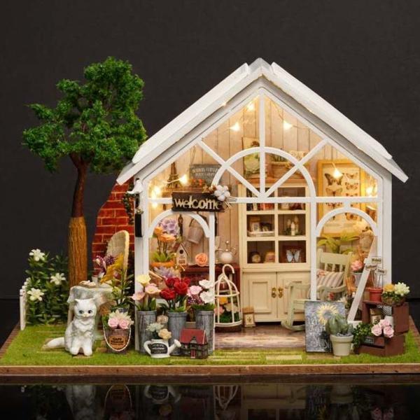 Mini 3d diy casa de boneca miniatura realista jardim