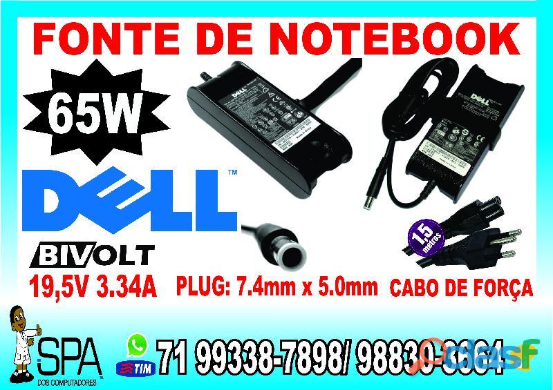 Carregador para notebook dell 19.5v 3.34a 65w 7.4mm x 5.0mm em salvador ba