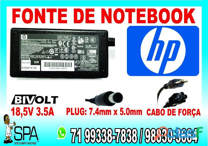 Carregador para notebook e netbook hp 18.5v 3.5a 65w plug 7.4mm x 5.0mm em salvador ba