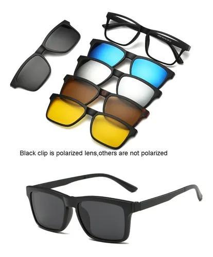 Armação de óculos + 5 lentes clip on de sol e noturna