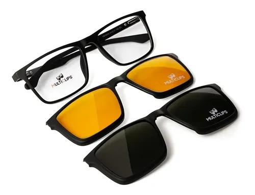 Armação de óculos p/ grau clip on multi lentes polarizado