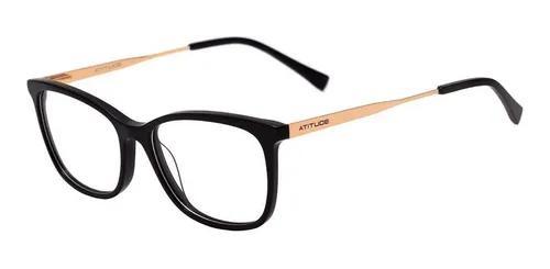 Armação oculos grau atitude at6177 a01 preto brilho
