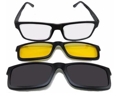 Armação Oculos Grau Sol Masculino 3 Clip On Polarizado