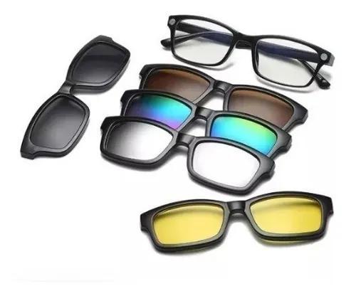 Armação para óculos grau + kit clip on 6x1 peças modelo