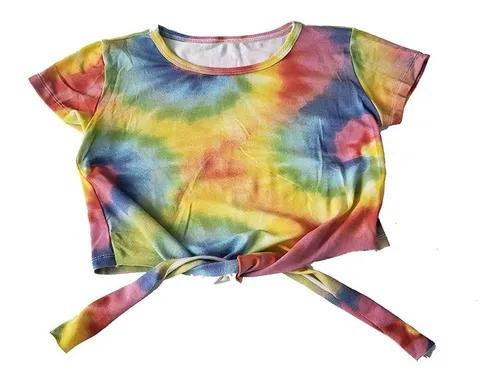 Blusa infantil tie dye day menina criança amarrar