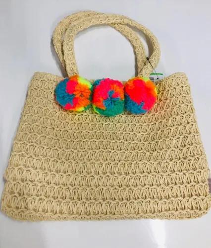 Bolsa De Palha Praia Adulto Infantil Com Pompom Colorido