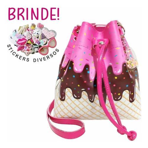 Bolsa infantil estampa sorvete pink - magicc bolsas