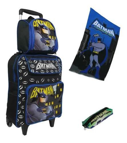 Bolsa mochila infantil masculina batman com estojo meninos