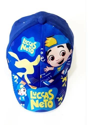Boné infantil lucas neto para crianças de 1 a 5 anos azul