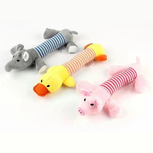 Brinquedo pet pato elefante ou porco pelúcia com apito cão