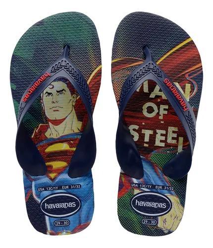 Chinelo infantil masculino batman superman havaianas herois