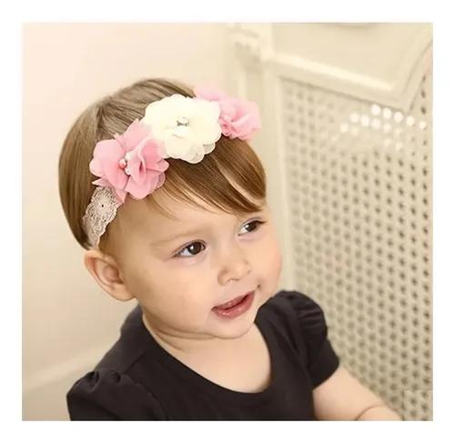 Kit 3 faixas flores luxo bebê infantil guria cabelo frio