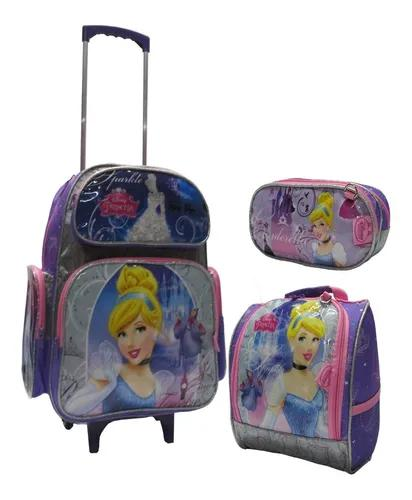 Mochila g cinderela princesa rodinha escolar infant kit 2019