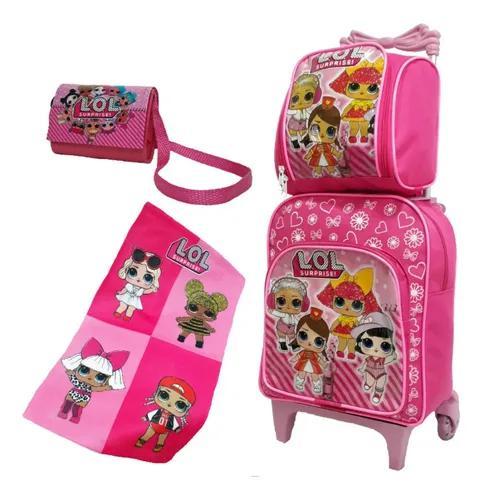 Mochila infantil lol kit escolar criança meninas promoção