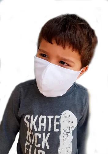 Máscara infantil reutilizável - 100% algodão - branco