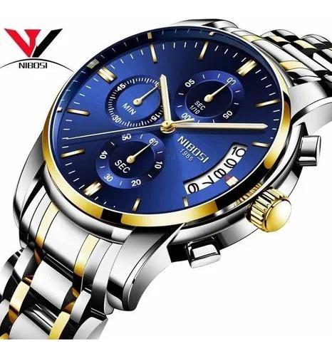 Relógio masculino nibosi original analógico luxo c/ caixa