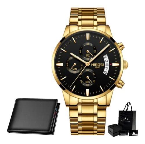 Relógio masculino nibosi ouro original dourado carteira