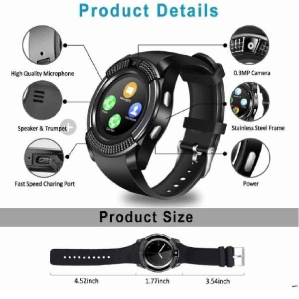 Relógio smart watch v8 bluetooth câmera branco. envio
